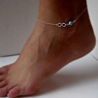Fashion Bead Infinity Anklet Ankle Bracelet Foot Jewellery (Color: Silver)