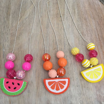 Fruit Necklace, Lemon Necklace, Pink Lemonade, Bubblegum Necklace, Chunky Necklace, Toddler Necklace, Girls Necklace
