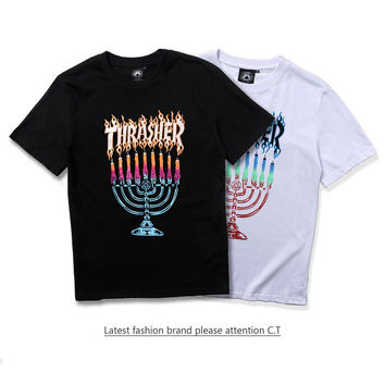 Summer T-shirts Short Sleeve Cotton Candle Stand [10207415175]