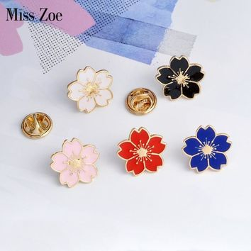 Trendy Miss Zoe Cherry Blossoms Flower Brooch Pins Button Pins Denim Jacket Pin Badge for Bags Japanese Style Jewelry Gift for Girls AT_94_13