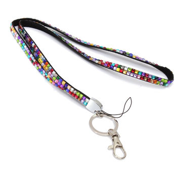 10pc/lot Rainbow Strap Lanyard Bling Rhinestone Crystal Custom for ID Badge Key Ring Holder