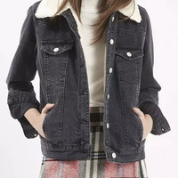 Black Lapel Fluffy Buttoned Denim Coat