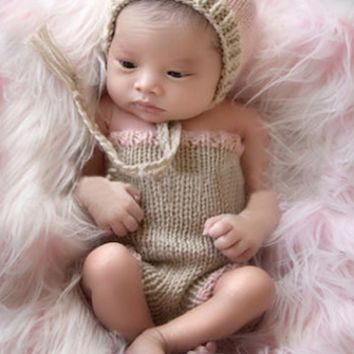 Adorable Pink Newborn Baby Prop Hat Crochet Knit Outfit Set - CCC297