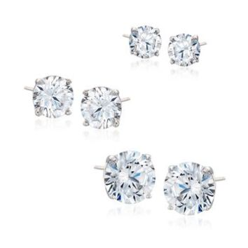 6.00 ct. t.w. CZ Jewelry Set: Three Pairs of Stud Earrings in Sterling Silver | Ross Simons