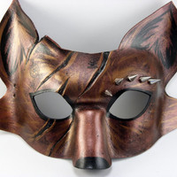 Copper Battle Spike Fox Mask, Handmade, animal masquerade mask, masked wedding, masquerade ball in stock