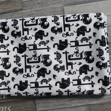 PLEASE READ to ORDER! Jungle Friends Black & White Background One Size Pocket Diaper or Diaper Cover