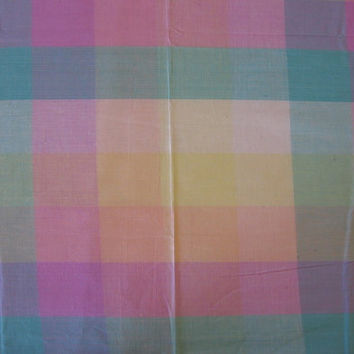 Vintage Fabric Pastel Plaid - 2 YARDS, 35 INCHES