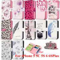 Luxury Butterfly Dog Dandelion PU Leather Wallet Flip Phone Cover Case w Card Slot For Apple iPhone 5 5S 5C SE 6 6S Plus 7 7Plus
