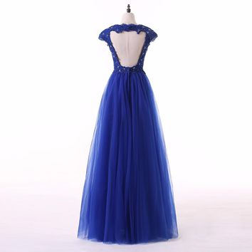 Elegant party dress evening dresses Royal blue appliques beading long gown cap sleeves