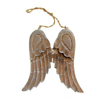 Hanging Wooden Angel Wings Christmas Tree Ornament, Silver, 6-Inch