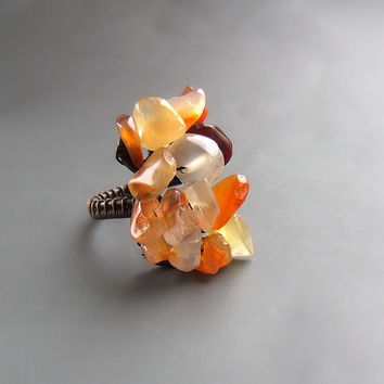 Red carnelian ring, antiqued gemstone ring, boheme ring, rustic handmade jewelry
