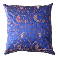 Blue India Handicraft Silk Floral Embroidery Toss Pillow