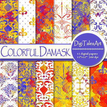 "Damask watercolor digital paper ""Colorful Damask"", scrapbook, watercolor background floral clipart pattern invitations cards red blue yellow"