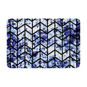 "Ebi Emporium ""Chevron Wonderland II"" Blue Black Memory Foam Bath Mat"