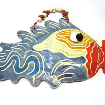Wall Hook Fish Art Dog Leash Key Holder Handmade Pottery Signed