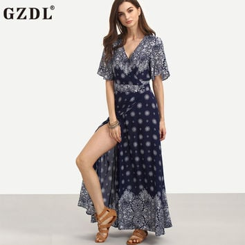 GZDL Vintage Women Floral Print Split Side Bohemian Boho Summer Casual Loose Long Maxi Dress A-line Flared Swing Vestidos CL3025