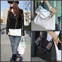 Women Studs Rivets Chain Shopper Crossbody Punk StyleTote Shoulder Handbag PS