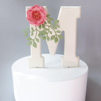Monogram Cake Topper with Handmade Paper Flower