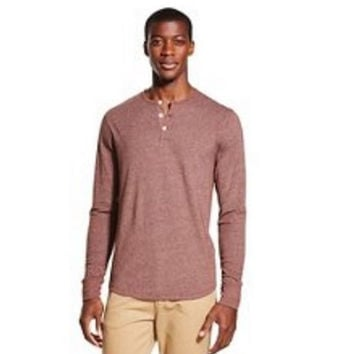 Merona Men's Long Sleeve Henley T-Shirt, X-Large, Posh Brown