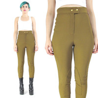 80s 90s High Waist Riding Pants Olive Green Pants Equestrian Leggings Stretchy Ribbed Leggings Knee Patches Bodycon Hipster Pants (XS)