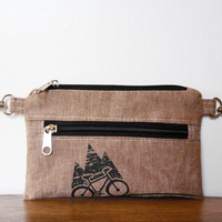 Belt bag brown linen Vegan printscreen Mountain bike bag cell phone covers Bicycle Bike