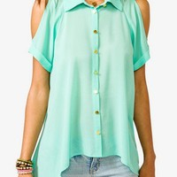 Sheer High-Low Shirt
