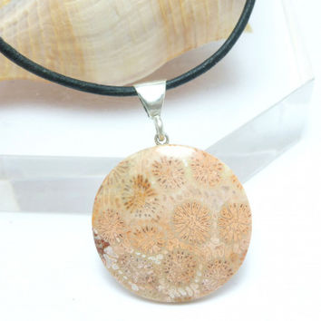 Natural Fossilized Coral Pendant Necklace Black Leather Sterling