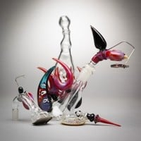 T-Funk Glass - Worked Bubbler with Mothership Curve, Vapor Curve, Dish & Dabber # 2