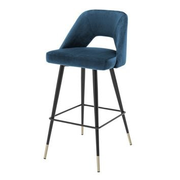 Blue Velvet Bar Stool | Eichholtz Avorio