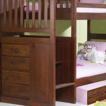 Audrey Merlot Bunk Bed with Stairs and Trundle