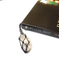 Book marker, Clear Quartz bookmark, book lovers gift idea, wrapped crystal, rock crystal book marker, crystals and gems, Dad gift idea