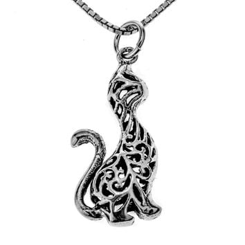 Women Silver Cat Necklace Pendant Chain For Halloween Party