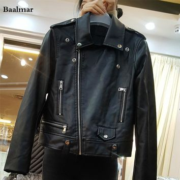 Baalmar Faux Leather Jacket Women Moto Biker Leather Jackets Zip Coats Blazer Pu Jacket Jaqueta Couro Blouson Cuir Femme Casaco