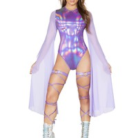 Purple Holographic Rave Ware Bodysuit With Sheer Mesh Sleeves