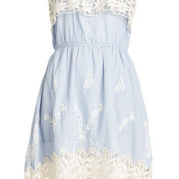 Embroidered Cotton Dress with Lace - Christophe Sauvat | WOMEN | US STYLEBOP.COM