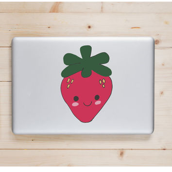 "Strawberry Kawaii Die Cut Sticker // Cute Japanese // Computer & Tablet XL Size // 8"" // Perfect For Indoor, Outdoor, Laptop, Car"