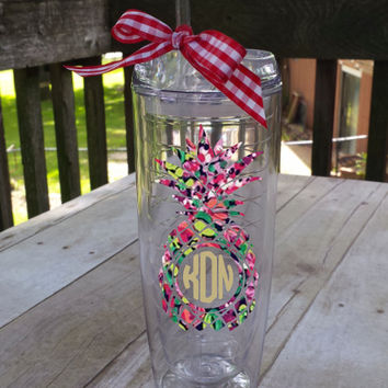 Pineapple Lilly Inspired Tumbler Monogrammed or Not, your choice!  Great Gift!