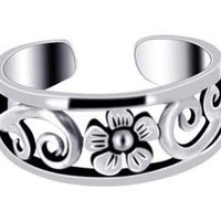 925 Sterling Silver Flower Toerings