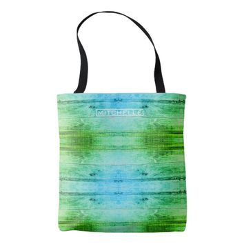 Personalized Green Wood Tote Bag