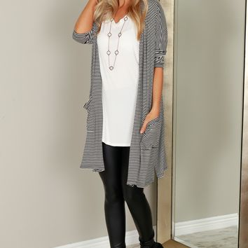 Long Striped Kimono Black