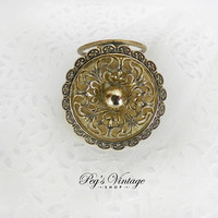 Vintage Scarf Clip, Gold Filigree & Mop Scarf Clip / Slide, Vintage Fashion Accessory/W Germany
