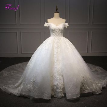 Fmogl Charming Sweetheart Neck Appliques Lace Wedding Dress 2018 Luxury Beaded Ball Gown Bridal Dress Robe De Mariage Plus Size