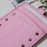 COACH Silver Studded Liquid Gloss Lanyard in Pale Pink 68072