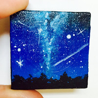 Night Sky Painting, Miniature Painting, Home Decor, Original Art, Small Gift, Tiny Painting, Acrylic Painting, Square Canvas, Unique Gift