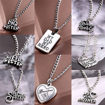 Sale Sister Mother Daughter Dad Grandma Family Pendant Necklace Jewelry HU