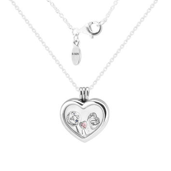 Heart Medium Floating Locket Silver Necklace With Heart, Star&Love 100% 925 Sterling Silver Necklace DIY Jewelry 08N033-8
