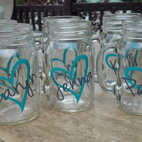 Set of 6 Personalized Mason Jars 16 oz Heart by madebytheresarenee