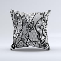 Black and White Lace Design Ink-Fuzed Decorative Throw Pillow