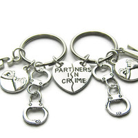 2 Partners In Crime Pinky Promise Initial Handcuff Keychains, Best Friends Keychains, Sisters Keychains, Couples Keychains, Friends Keychain