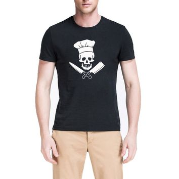 Pirate Skull Chef T-Shirts - Men's Crew Neck Top Tee